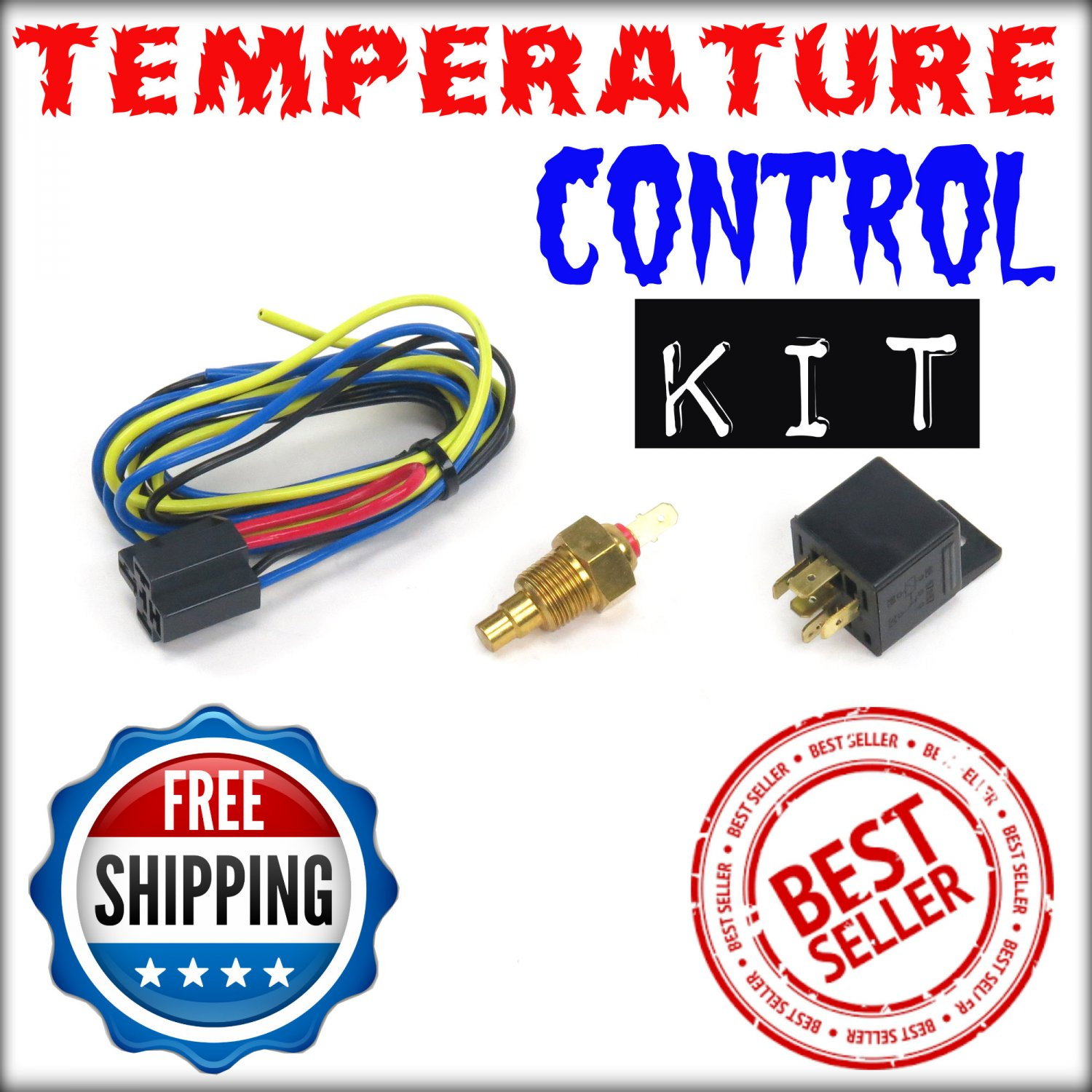 Fan Temp Control w/ Relay Cooling Switch NEW control adjust 180 degree #090AC2