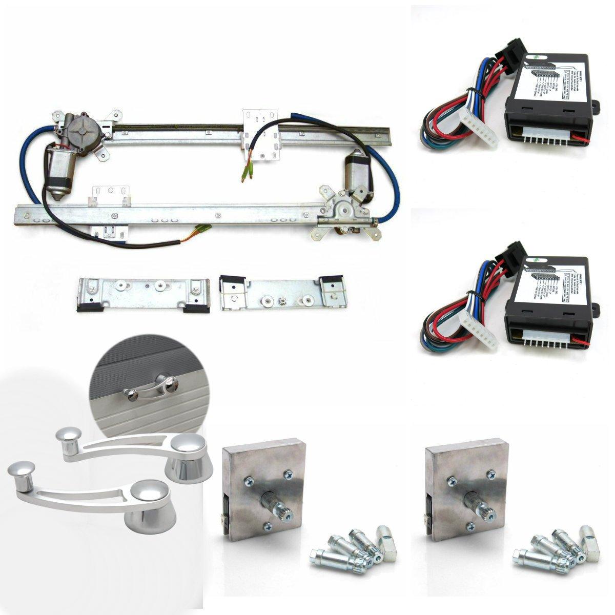 2 Door Flat Power Window Kit With Billet Power Cranks And Handles custom