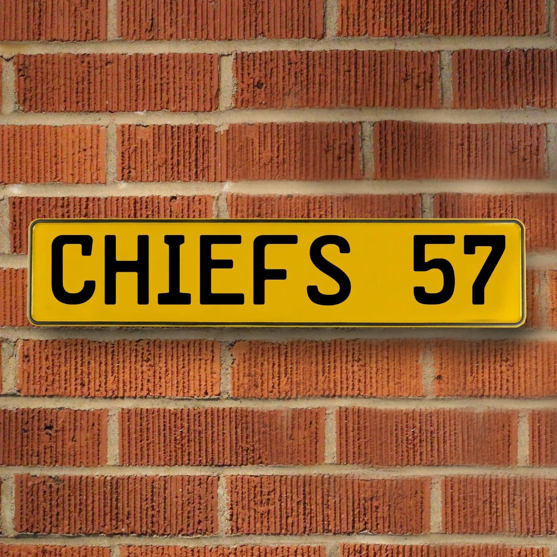CHIEFS 57 NFL Kansas City Chiefs Yellow Stamped Street Sign Mancave ...
