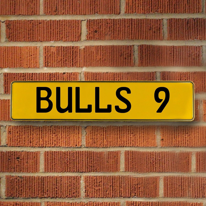 BULLS 9 NBA Chicago Bulls Yellow Stamped Street Sign Mancave Wall ...