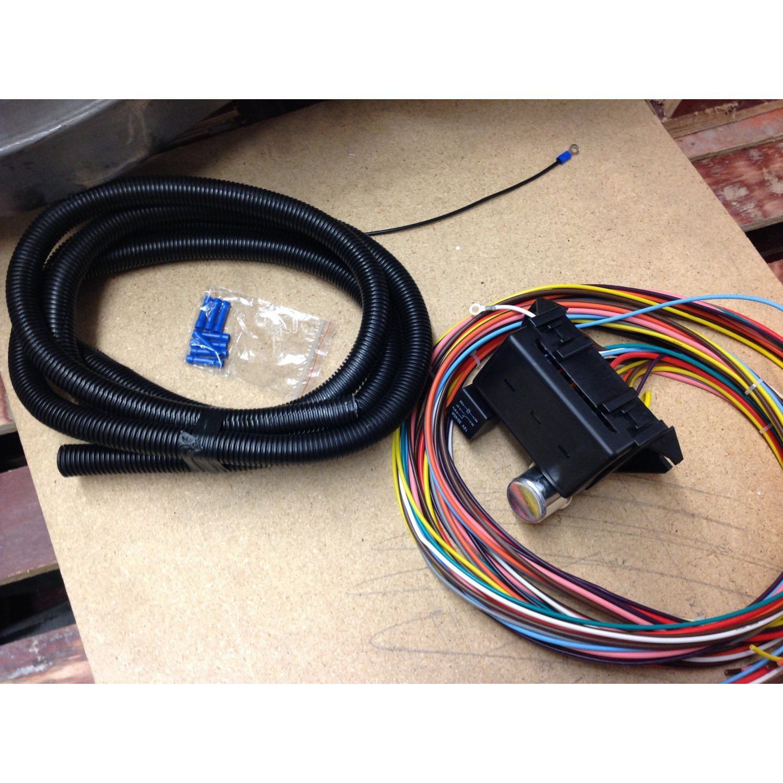 12v 18 circuit 12 fuse universal wiring harness kit 1956. Black Bedroom Furniture Sets. Home Design Ideas
