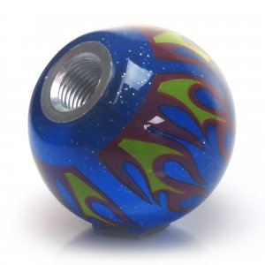 White Assassins Creed American Shifter 250644 Blue Flame Metal Flake Shift Knob with M16 x 1.5 Insert