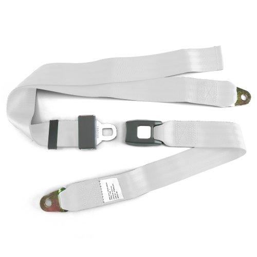2pt White Lap Seat Belt Standard Buckle Each SafTboy STBSB2LSWT v8 hot rod