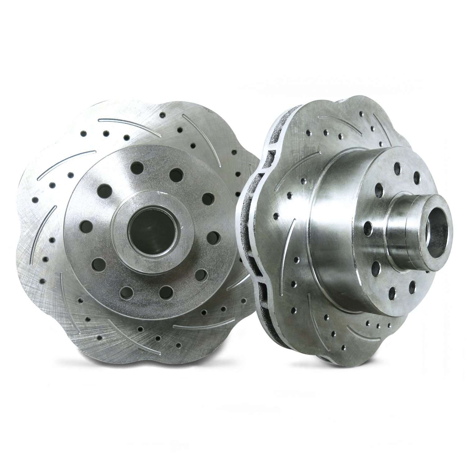 """Mustang II Front Disc Brake Crossed Drilled /& Slotted Rotors 11/"""" 5x5 5x5.5 vent"""