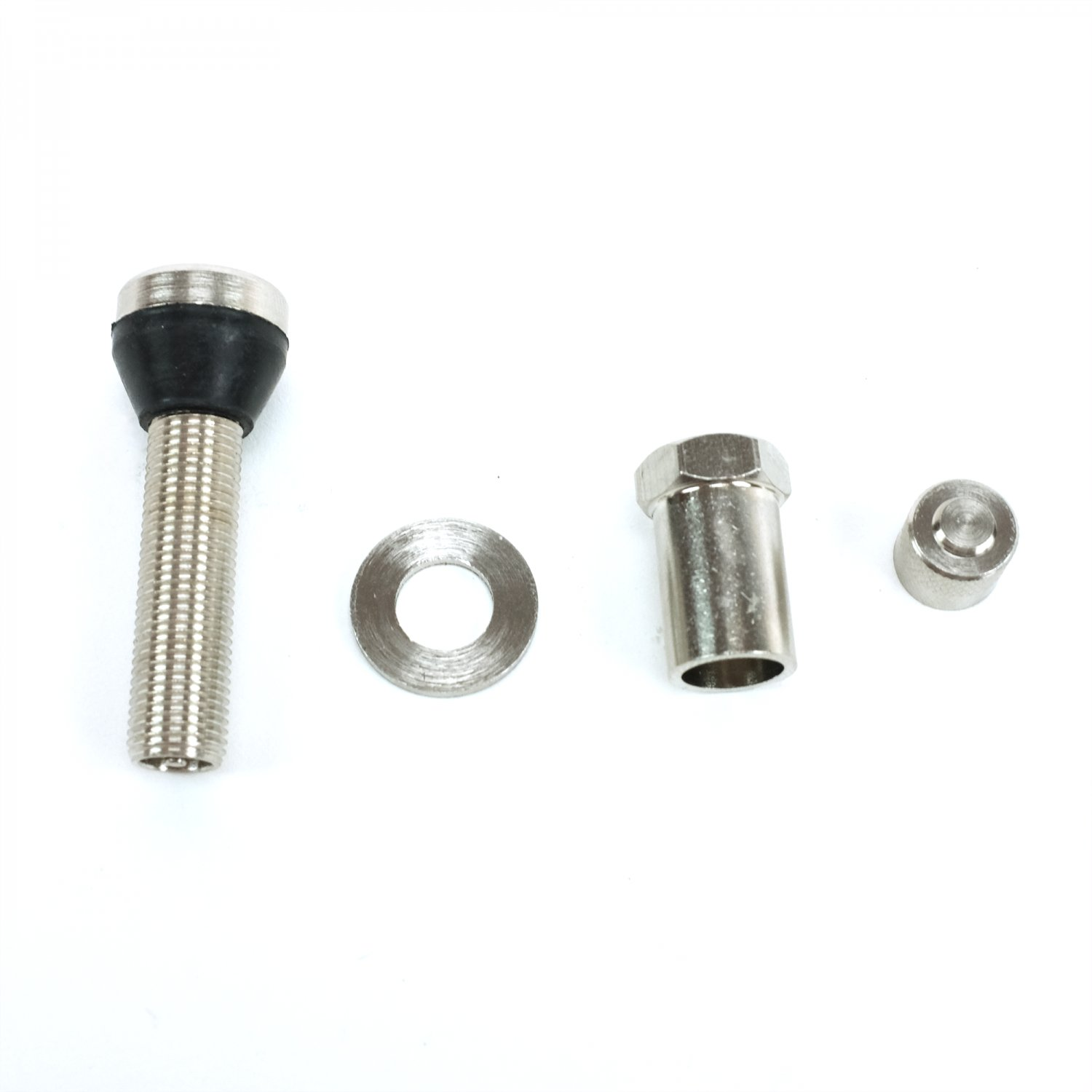 Time to replace those stock valve stems and caps. Jazz up your tires with  this 4 pack of metal bolt-in valve stems and classic metal caps.