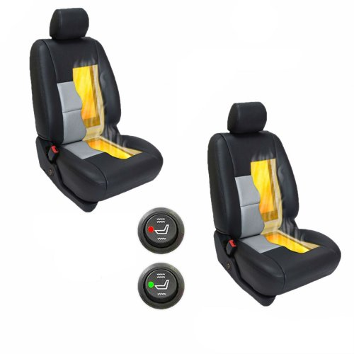 2 Seats Car Seat 6 Level Heated Seat Pad Cushion Round Switch Kit Carbon Fiber