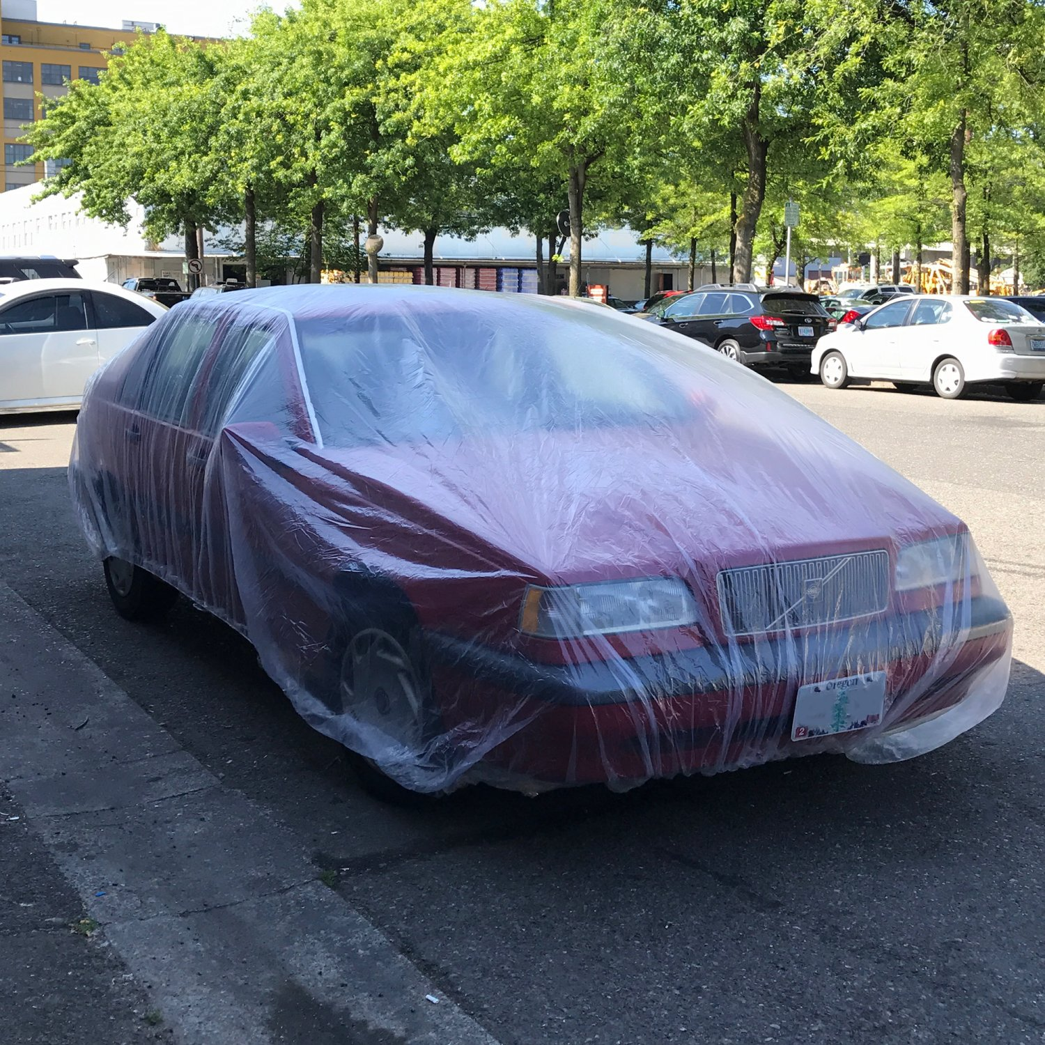 20 pack clear plastic temporary universal disposable car cover rain