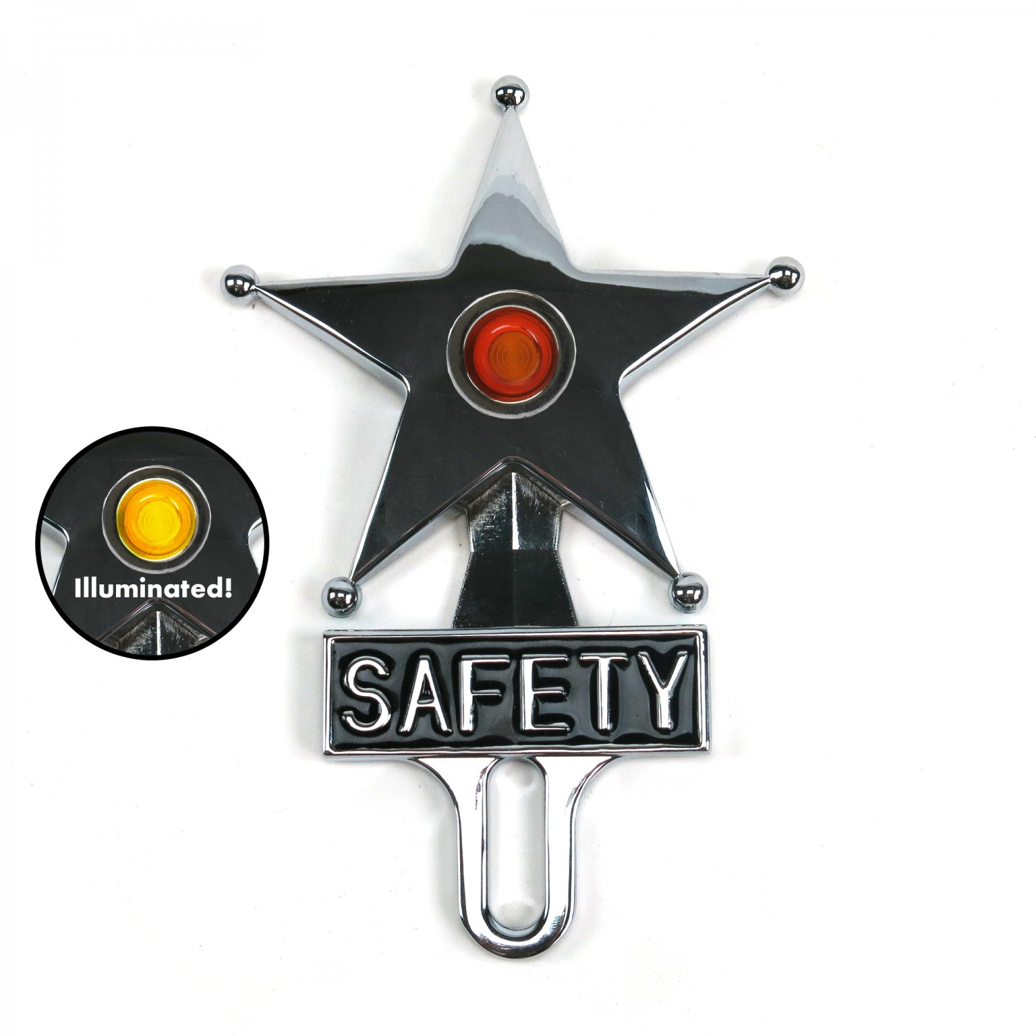 Chevy Ford Red Dot Vintage Safety Star Lighted License