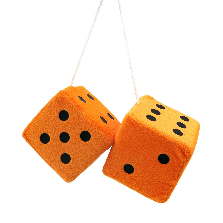 3 Orange Fuzzy Dice With Black Dots Pair Ebay
