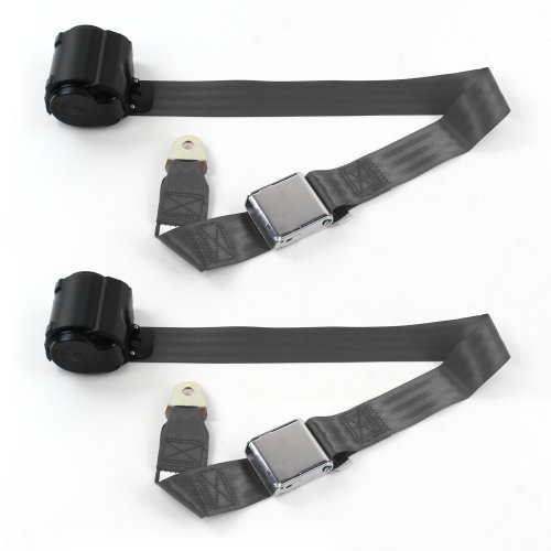 Ford Mustang 1967-1970 Standard 2pt CH Retract Bucket Seat Belt Kit-2 Belts