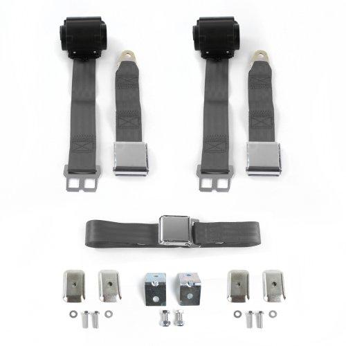 3 Belts v8 Ford Mustang 1971-1973 Standard 2pt Black Lap Bench Seat Belt Kit