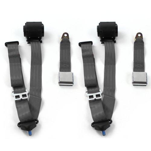 Camaro 1970-1981 Standard 3pt Black Retractable Bucket Seat Belt Kit 2