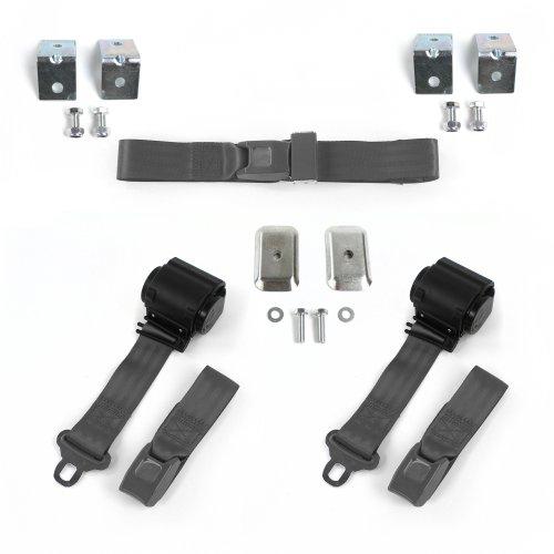 Ford Van 1961-1967 Standard 2pt Black Lap Bench Seatbelt Kit 3 Belts harness