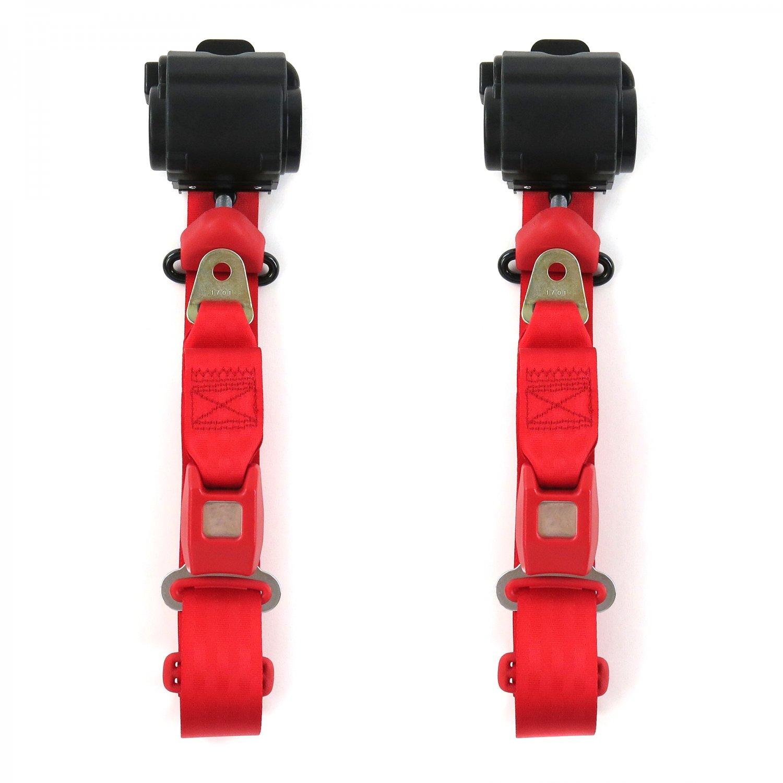 Camaro 1993 - 2002  Standard 3pt Red Retractable Bucket Seat Belt Kit - 2 Belts