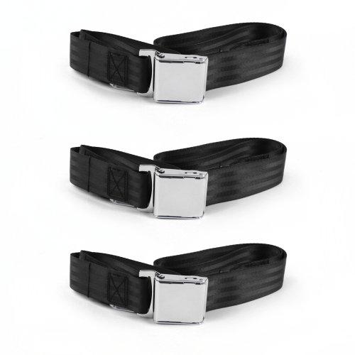 Ford Mustang 1964-1966  Airplane 2pt Black Lap Bench Seat Belt Kit 3 Belts