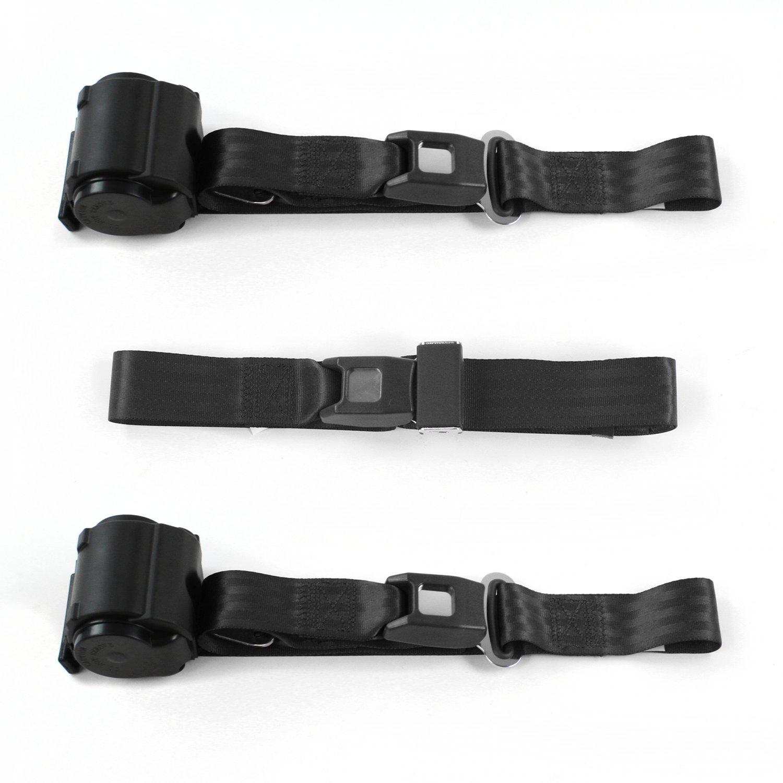 3 Belts Chevy Chevelle 1964-1967 Standard 2pt Black Lap Bench Seat Belt Kit