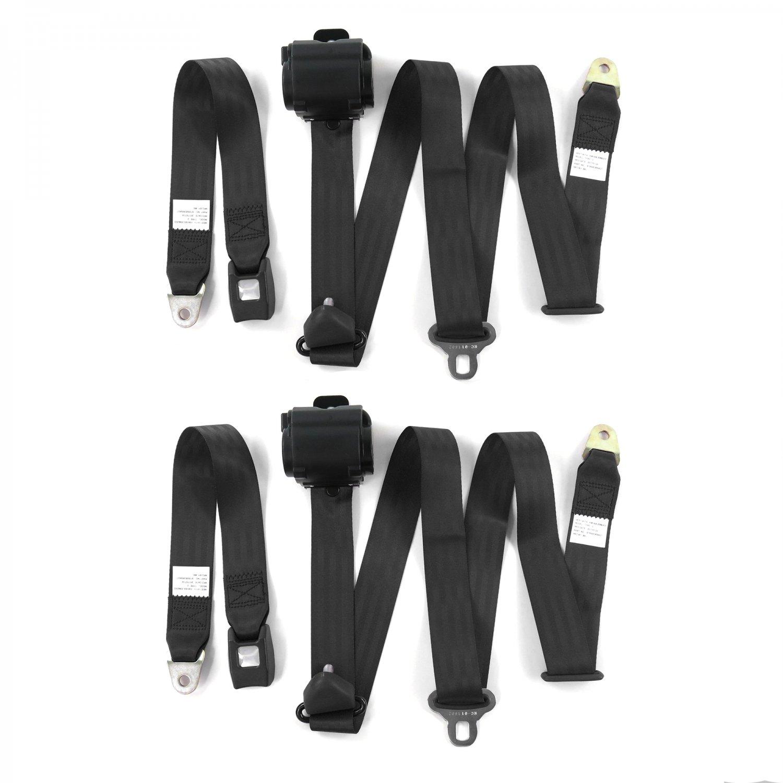 Chevy II 1966-1967 Standard 3pt Black Retractable Bucket Seatbelt Kit 2 Belts