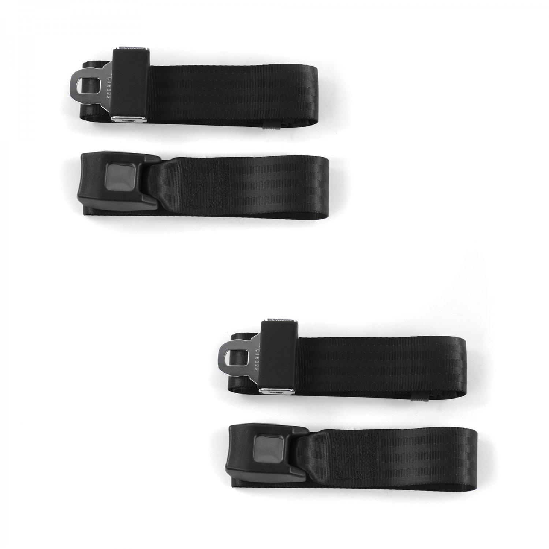 3 Belts Ford Mustang 1964-1966  Airplane 2pt Black Lap Bench Seat Belt Kit