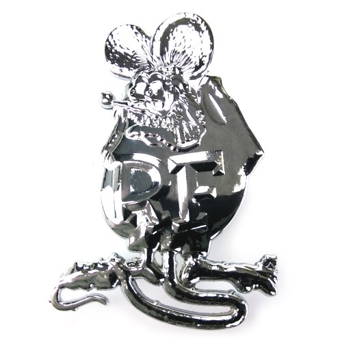 PAIR ~ RAT FINK METAL EMBLEM 80mm Chrome Car Badge suit motrocycle RatFink
