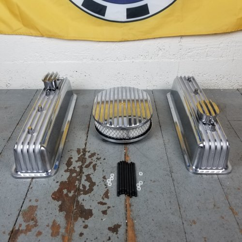 SBC 14 Deep Round//Tall Center Bolt Finned Engine Dress Up kitw// Breathers PCV
